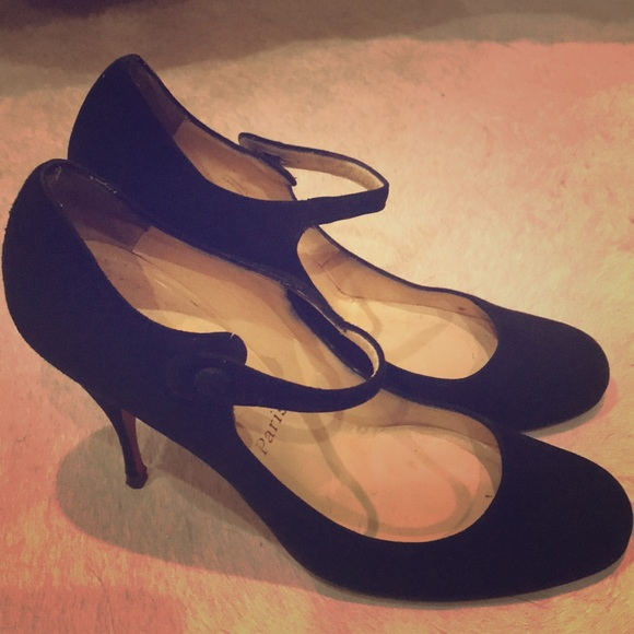 buy online 29ee9 ef250 Black Suede Christian Louboutin Mary Jane Pumps